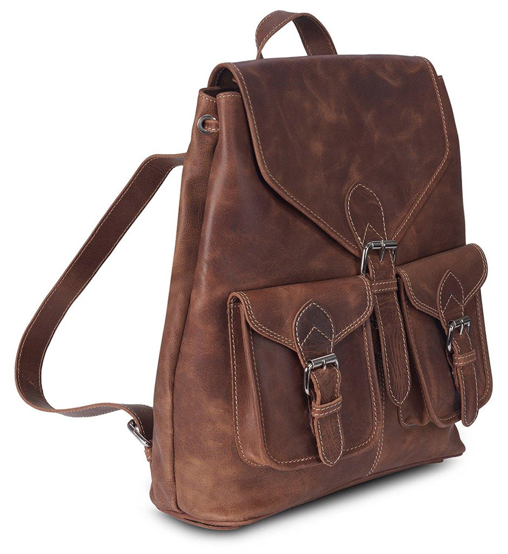 Get Quotations · PL Genuine Cow Leather Retro Rucksack Backpack College Bag  School Picnic Bag Travel 6109de49e337