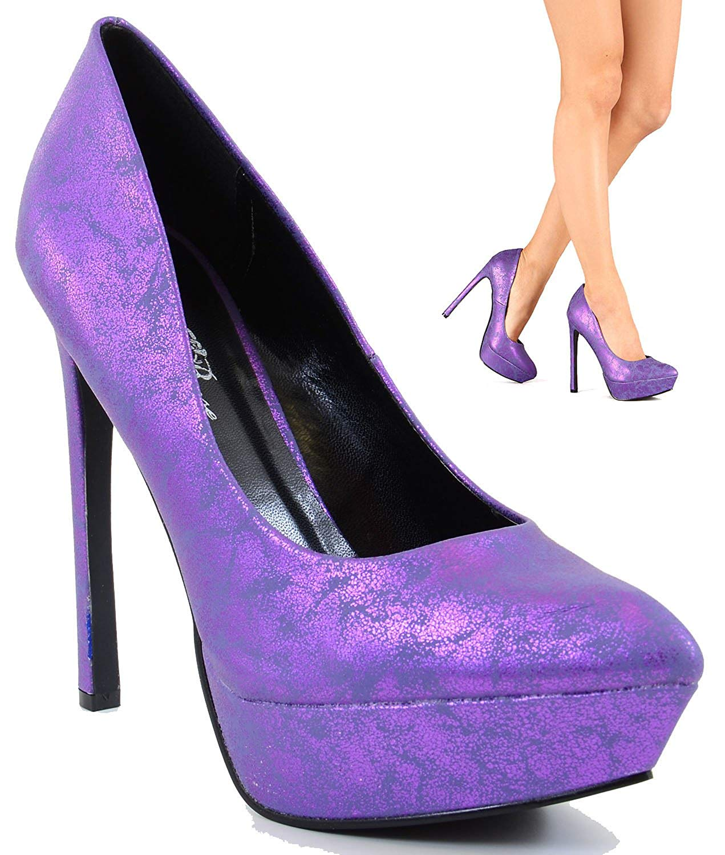 Get Quotations · Metallic Purple Pointy Toe Platform Stiletto Pumps Women  Heels 7e996bba4a