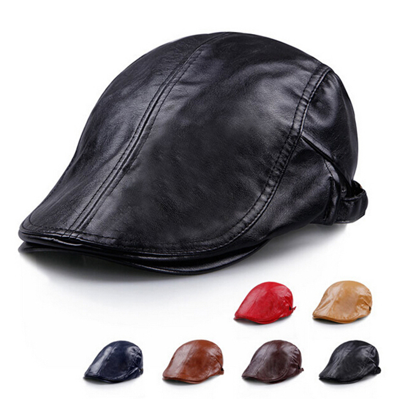 ff375667380ab Get Quotations · 2015 Top Design The New Simple Solid Color Women Beret  Leather Hat Beret Men Boina Masculina