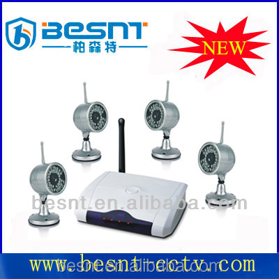 4ch Wireless kit display on pc, 2.4GHz wireless cctv kit, outdoor mini Cameras system Digital security kit BS-W204