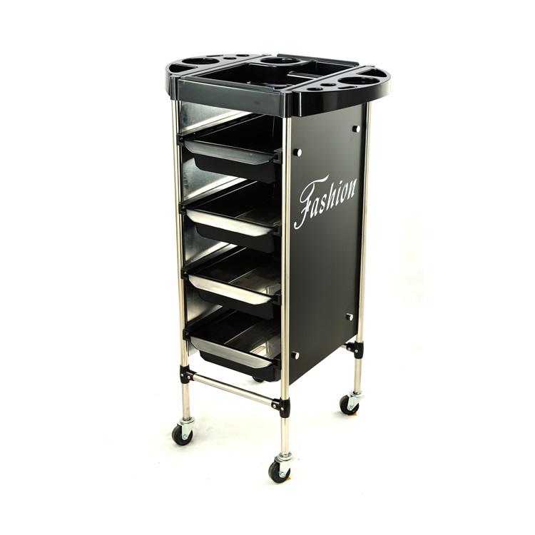 Wholesale hair Salon Furniture Lockable black Barber Trolley With Wheels