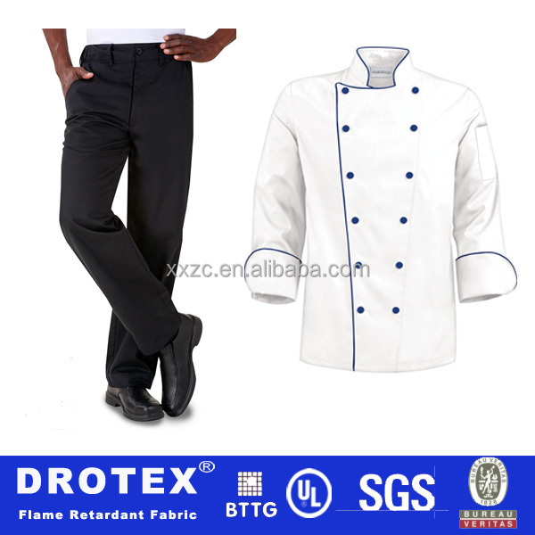 Durable 75 Degree Celsius Industrial Washing 67%Polyester 33%Cotton Material Chef Uniform Fabric