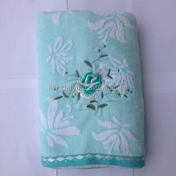 100*180cm large velour beach towels with good looking embroidery flowers 100%Cotton