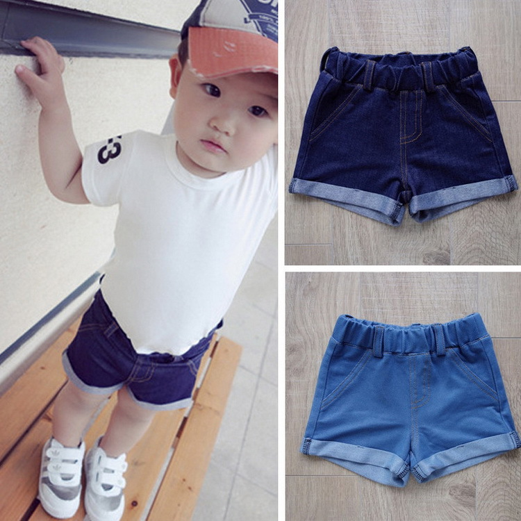 2015 Summer Style Baby Boys Girls Denim Shorts 2 Colors Kids Short Trousers Children s Beachwear