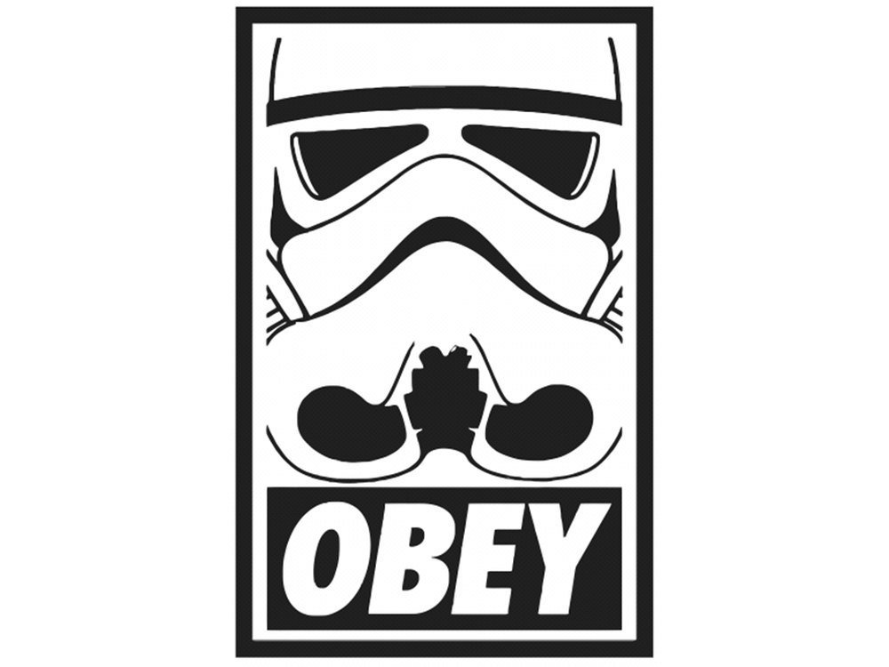 Get quotations · star wars storm trooper obey 5 decal sticker for cars laptops tablets skateboard black