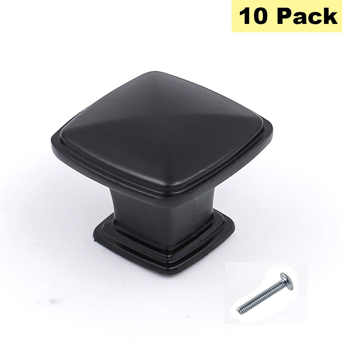 Flat Black Cabinet Knobs Square Knobs for Kitchen Cabinets 10 Pack - Peaha PH8791BK Solid Single Hole Flat Black Drawer Pulls Cabinet Hardware Knobs 10 Pack