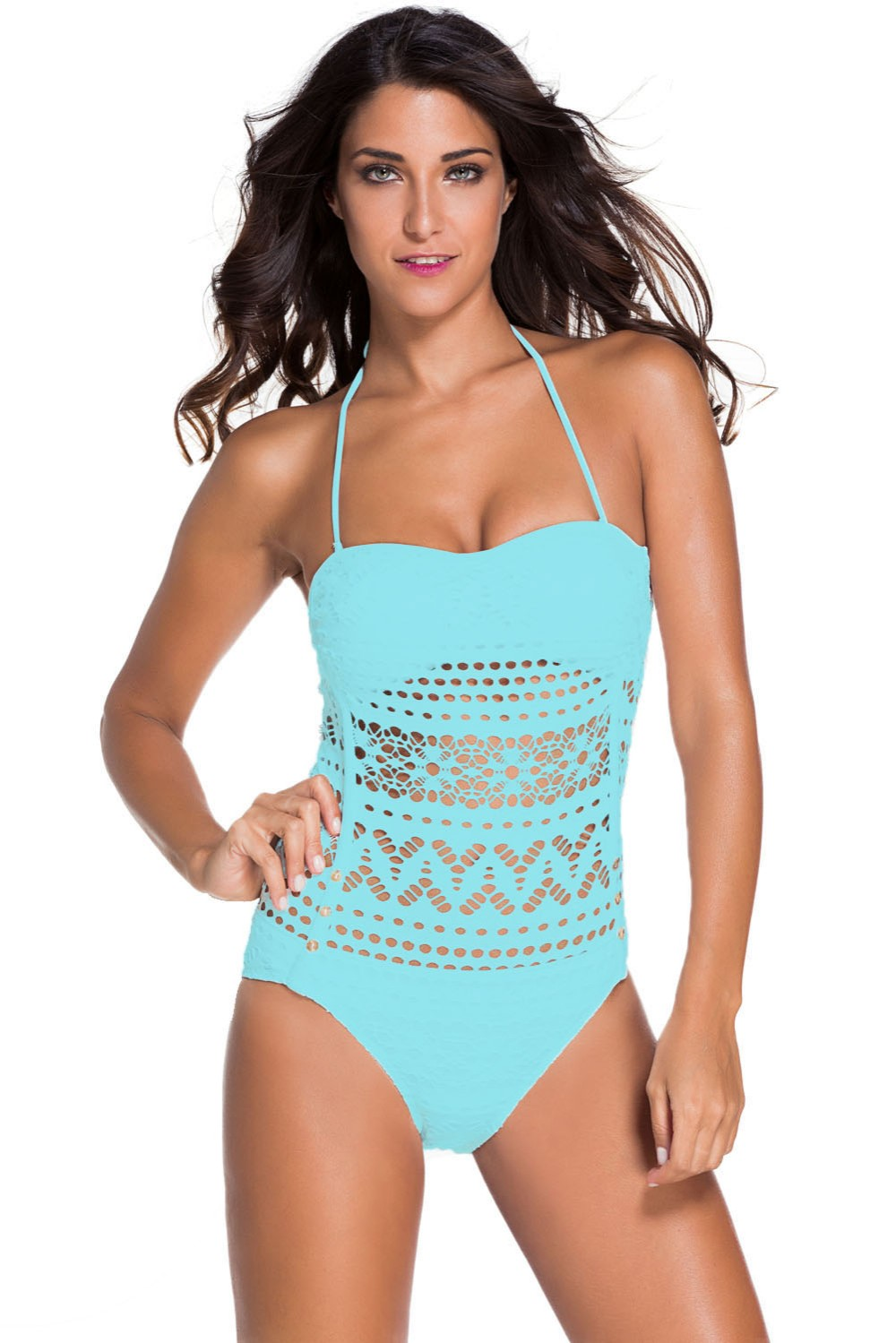 Royal Blue Lace Hollow Out Padded Monokini Swimsuit