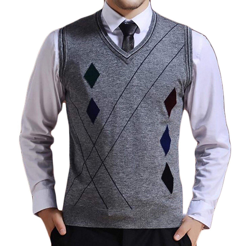CBTLVSN Mens Comfy Argyle V-Neck Long Sleeve Knitwear Pullover Sweaters