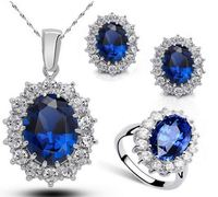Tryme Jewelry Yiwu Queen Royal ocean blue 18K white gold austrian crystal rhinestones zircon pendant chain necklace earrings rin