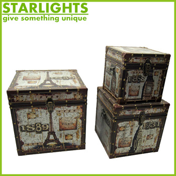 Vintage Retro Wood Canvas Storage Trunks Shabby Chic