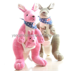 hot sale pink and blue color unstuffed kangaroo toy skins