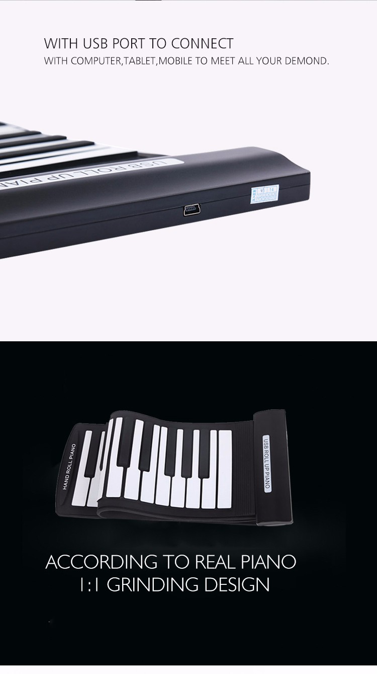 61keysroll up digital piano casio midi controller could play with computer for all kinds of piano game keyboards instrument