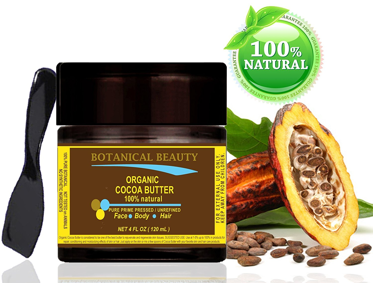 "ORGANIC COCOA BUTTER 100 % Natural / Pure Prime Pressed / Unrefined / Grade A / Certified Organic. 4 Fl.oz.- 120 ml. For Skin, Hair and Nail Care. ""Organic Cocoa Butter has the most remarkable cosmetic effect on the skin and hair."" Organic Cocoa Butter has a very pleasant chocolate aroma. by"