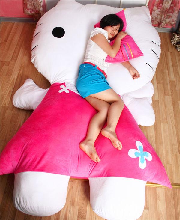 Hello Kitty Cuddle Pillow: Huge Comfortable Hello Kitty Cute Cat Soft Cartoon Bed