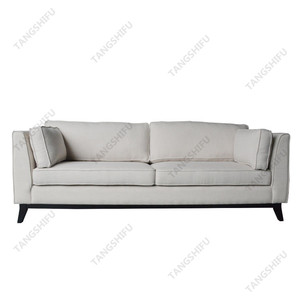 American style beige fabric upholstery three seater sofa