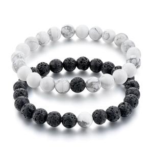 a54df4f8b1199 Lava Rock Stone & Black Agate Bead Couple Bracelet Set For Sale