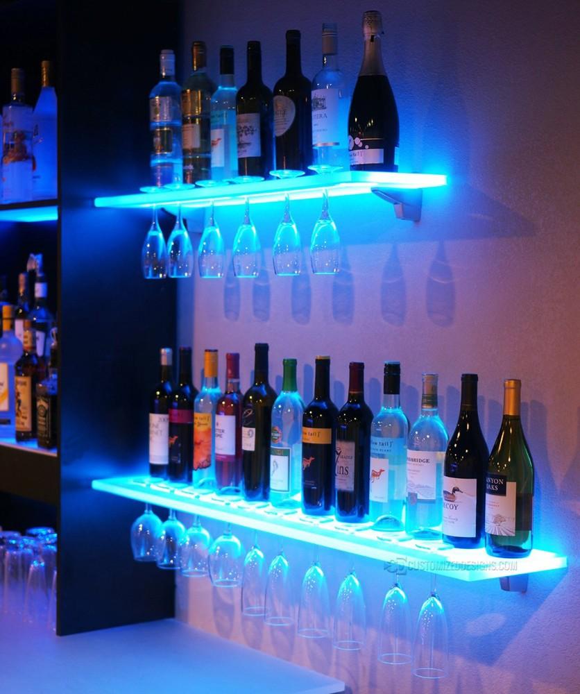 Led éclairage étagère Acrylique Pour Le Vin Et Les Verres à Pied Et