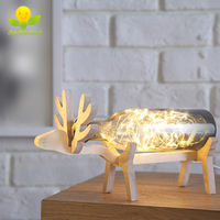 Creative Fancy Glass Led Bottle Wood Deer Night Stand Light Decorative Led Home Lighting