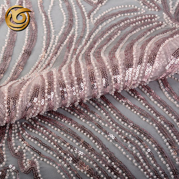Good Quality Net beaded pearl Embroidery Light Lace Fabric