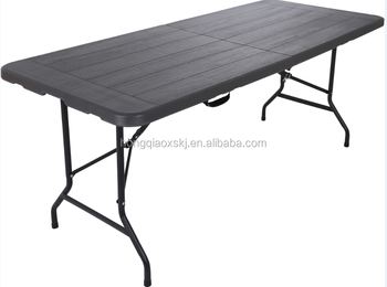 6ft Wood Design HDPE Plastic Portable Folding In Half Table, Black Wood Long  Table For