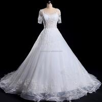 Alibaba Best Quality Appliqued wedding dress 2016 Short sleeve