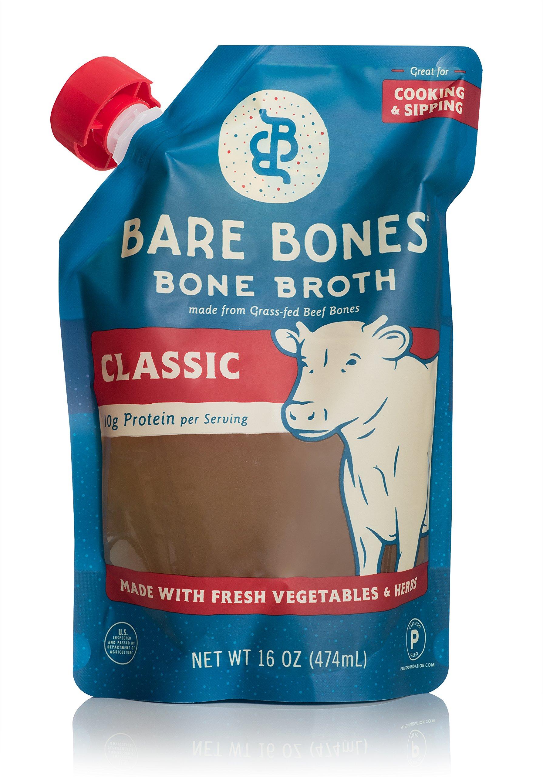 Beef Bone Broth by Bare Bones – 100% Grass-fed, Organic, Beef Bone Broth, Protein/Collagen-rich, 16 oz (4 Pack)