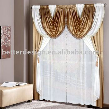 Beautiful Cheap Satin 2 Color Joint Arab Style Curtains For Home
