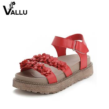 e4c589a02b6 summer flower ladies shoes guangzhou 2017 handmade genuine leather flat platform  sandals women