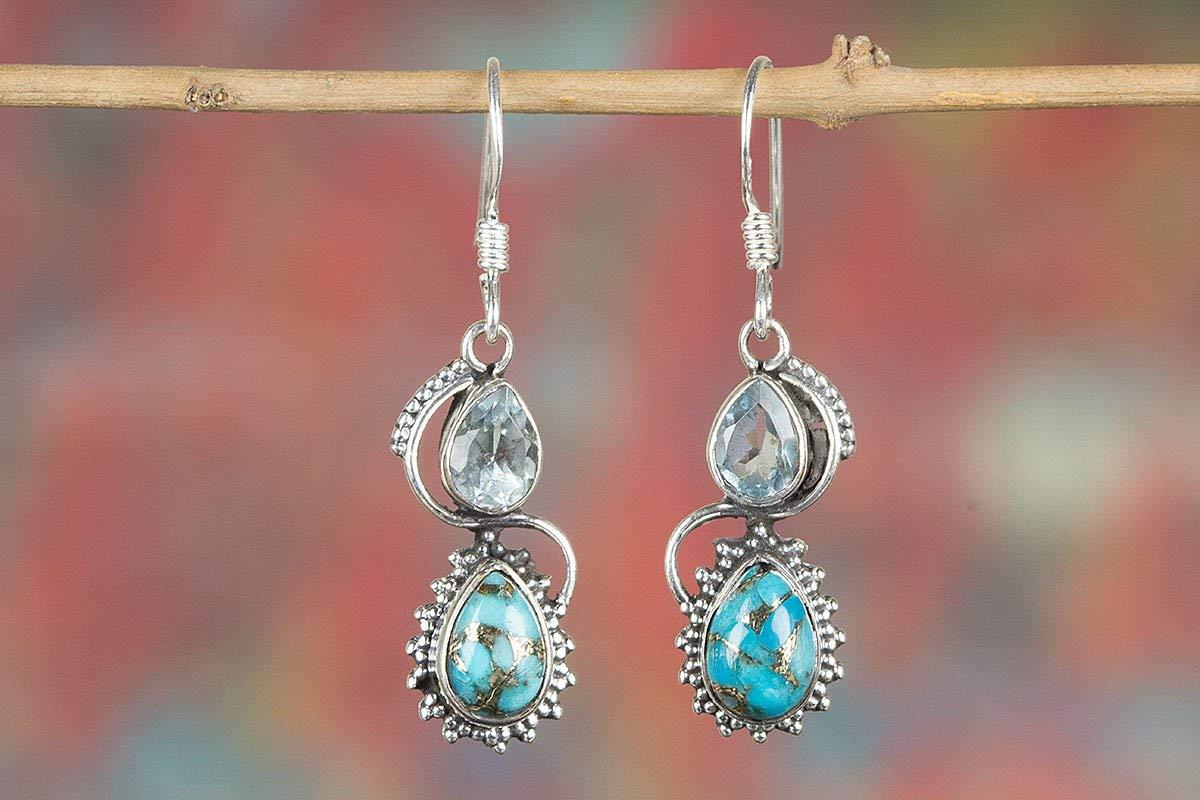 Blue Copper Turquoise Earring, 925 Silver Earring, Handmade Earring, Bridal Earring, Blue Topaz Stone, Earring For Everyone, Boho Earring, Silver Jewelry, Bridal Gift, NickelFree Silver
