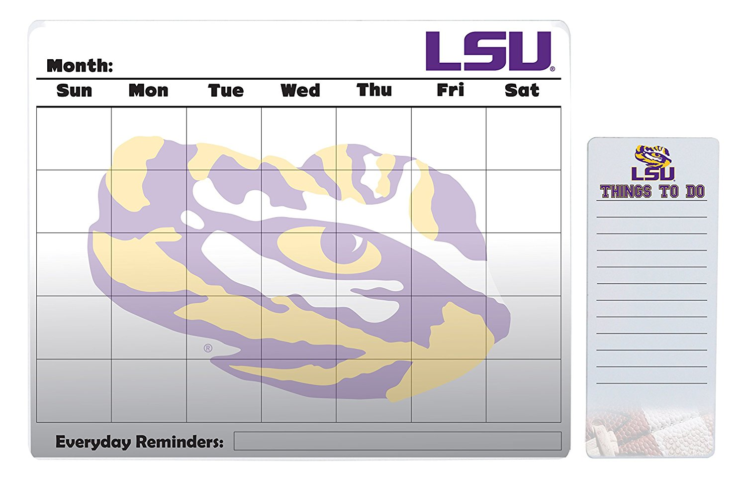 "LSU Tigers 16"" x 20"" Dry Erase Calendar Peel and Stick and 4"" x 10"" Dry Erase Board Peel and Stick"