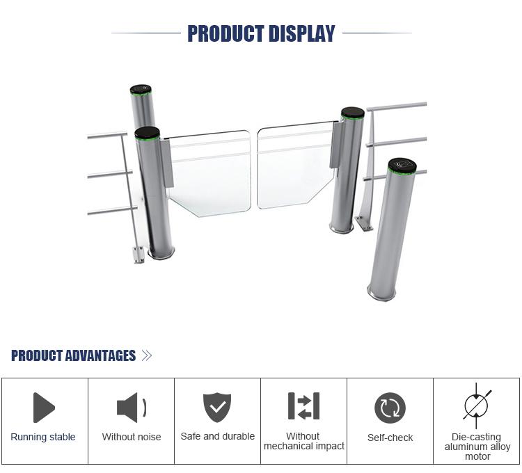 High Speed Automatic Round Pillar Supermarket Pedestrian Swing Barrier Gate