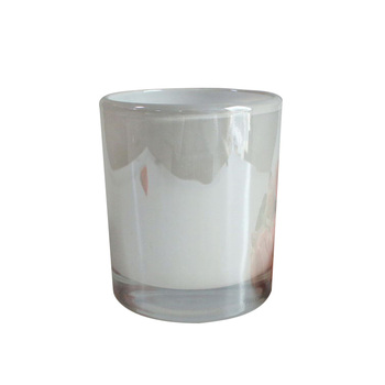 Lx-gb030 615ml Glossy White Glass Round Candle Tumblers ...