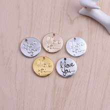 Personalized your own design fashion silver metal round shape custom made metal logo charms