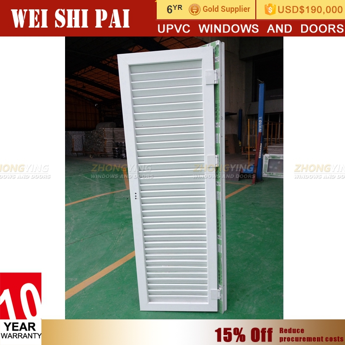 Outdoor Pvc Plastic Glass Louvered Door , Adjustable Plantation Shutter Bottom Ventilation Louvers Door Pvc Louver Door
