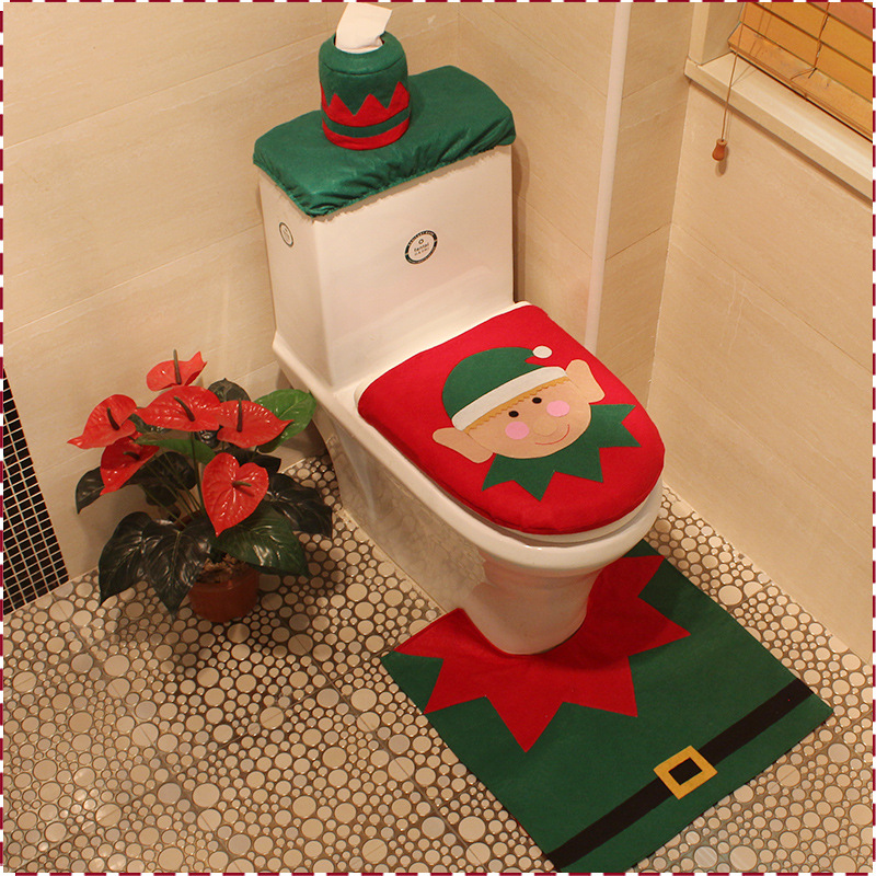Other Christmas Decorations Santa Claus Toilet Seat Cover And Rug Bathroom Set Christmas Decorations Home Furniture Diy Itkart Org