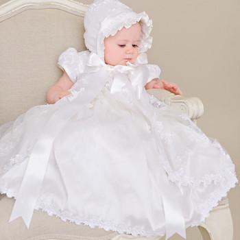 b1eea884b5b First Communion Dress Vintage Short Sleeves Applique Baby Girl Baptism  Christening Dresses White Beige Baptism Bow