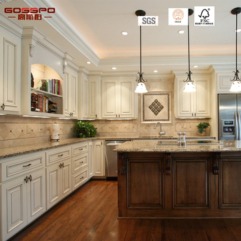 2017 American Style Luxury White Paint Kitchen Cabinet Cherry Solid Wood