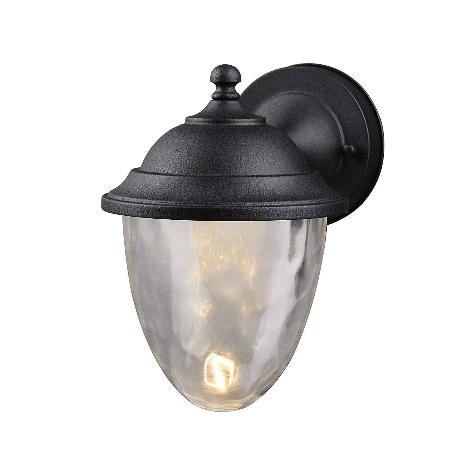 Hardware House LLC 21-3592 # 1-Light Medium Led Lantern Black Medium Size Lantern Wall Fixture with 1-Light Comes with Clear Bubble Water Glass Uses (1) 10W Led Light Bulb-Included