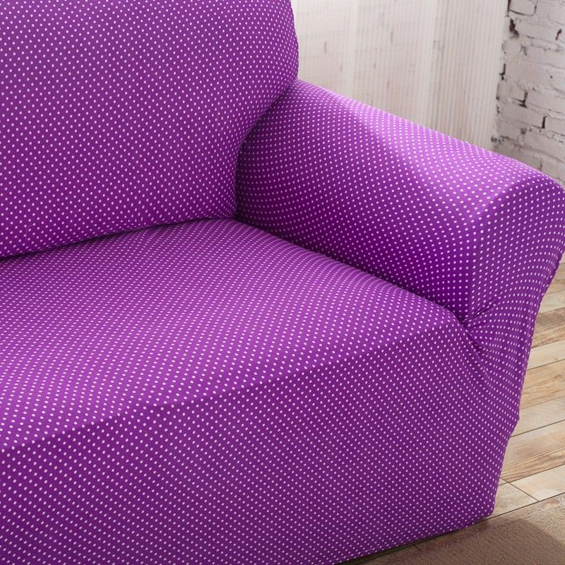 Unikea Purple Dots Elastic Sofa Cover Polyester Sofa Slipcover For Sectional Sofa 3 Seat Sofa