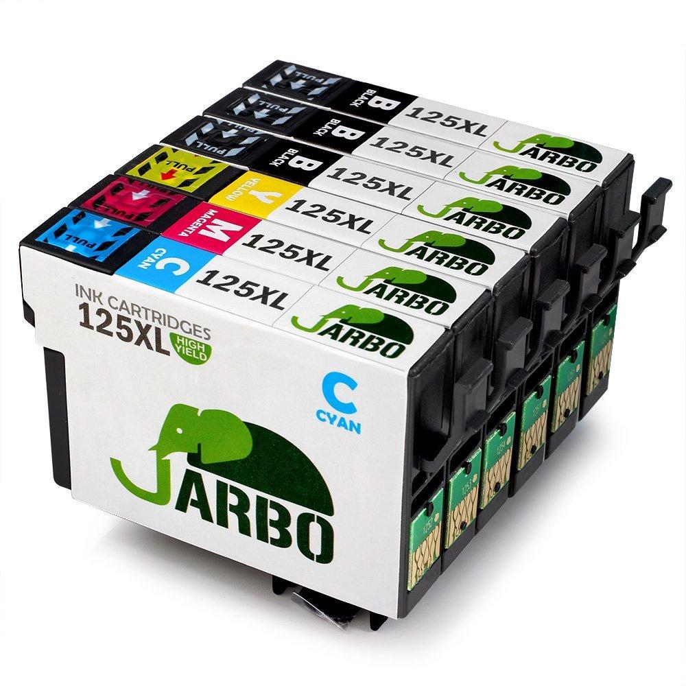 JARBO 1 Set+2 Black Replacement Epson 125 Ink Cartridge High Capacity, Used in Epson Stylus NX625 NX230 NX420 NX530 NX130 NX125 NX127 , Epson Workforce 520 320 323 325 Printer