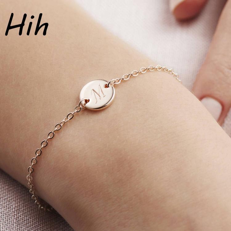 Fashion Custom Letter M Pendant Name Bracelet Fancy Chain For S
