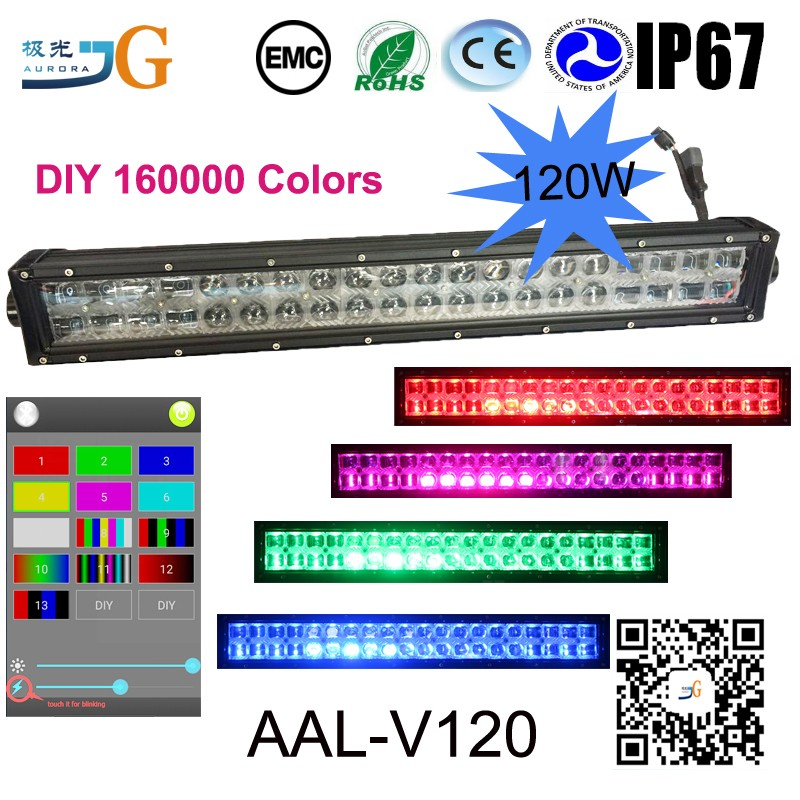 22inch 120w multicolor 5S rgb led light bar flash for Offroad 4WD