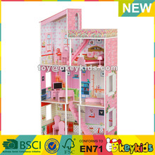 wholesale furniture toys wooden girls big doll house best kids pretend play wooden big doll house W06A046