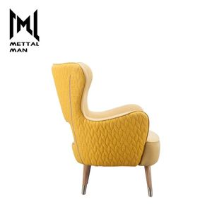 Mettal Man Sunshine Lazy Yellow Anteroom Furniture Fabric Sofa High Back Fancy Living Room Arm Chairs