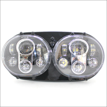 45W Dual LED Front Lights,12V Double LED Projector Lens Head Light for Road Glide Ultra Harley motorcycle round headlight