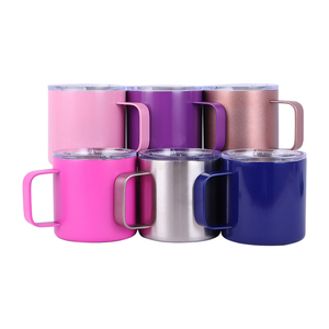 12oz/14oz Powder coating Coffee Mug With Handle , Beer Mug Coffee Mug with Spill Resistant Lid Double Wall Handle Cup