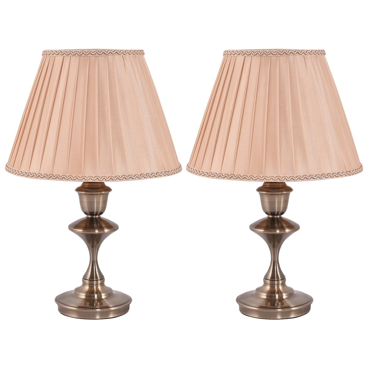 Costzon Bedside Table Lamp, Elegant Steel Base, Antique Style with Warm Fabric Shade Bulb for Bedroom Living Room Coffee Desk Lamp, Include LED Bulb, Cord (Brass, Set of 2)