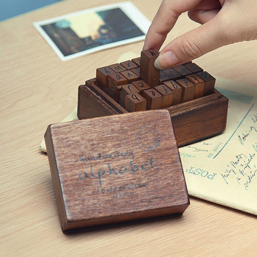Buy Vintage Alphabet Rubber Stamp Set Wood Letter Stamper With Wooden Box Gift In Cheap Price On Malibaba