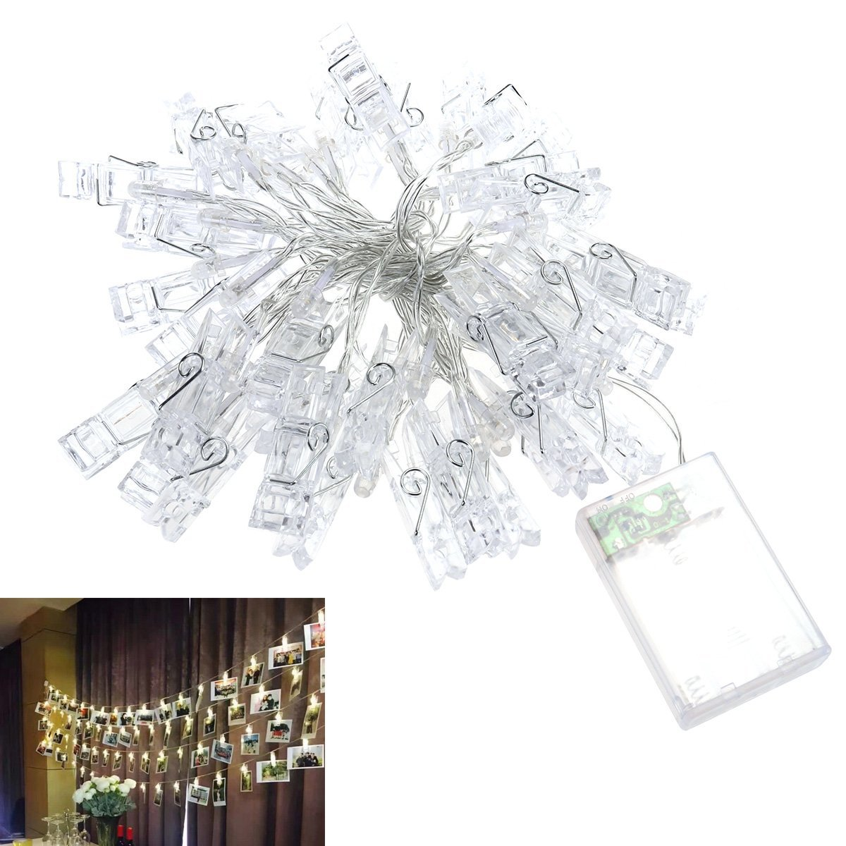 LEDMOMO 4.2M Clip String Lights Battery Operated Decorative 40 LED Light Ropes and Strings for Hanging Pictures Cards (Warm Light)