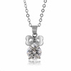 Shiny Crystal Rhinestone Pendants White Gold Plated Zinc Alloy Chain Bowt Charm Floating Necklace Accessory Cheap Choker Jewelry